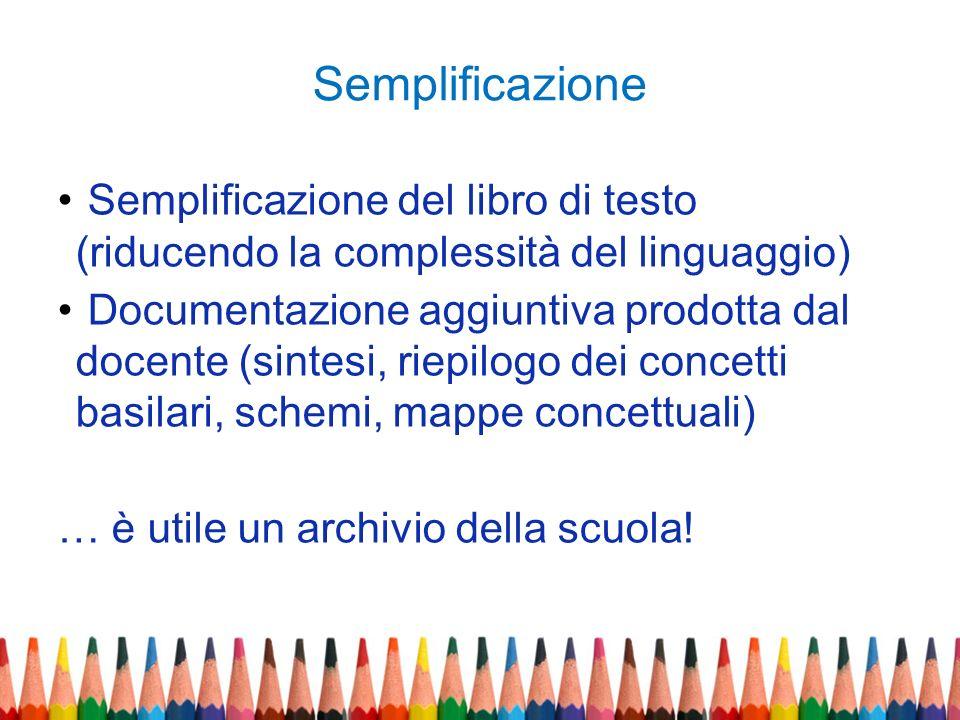 Semplificazione Semplificazione del libro di testo (riducendo la complessità del linguaggio) Documentazione aggiuntiva prodotta dal docente (sintesi,