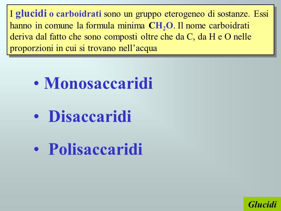 Glucidi I glucidi o carboidrati sono un gruppo eterogeneo di sostanze. Essi hanno in comune la formula minima CH 2 O. Il nome carboidrati deriva dal f