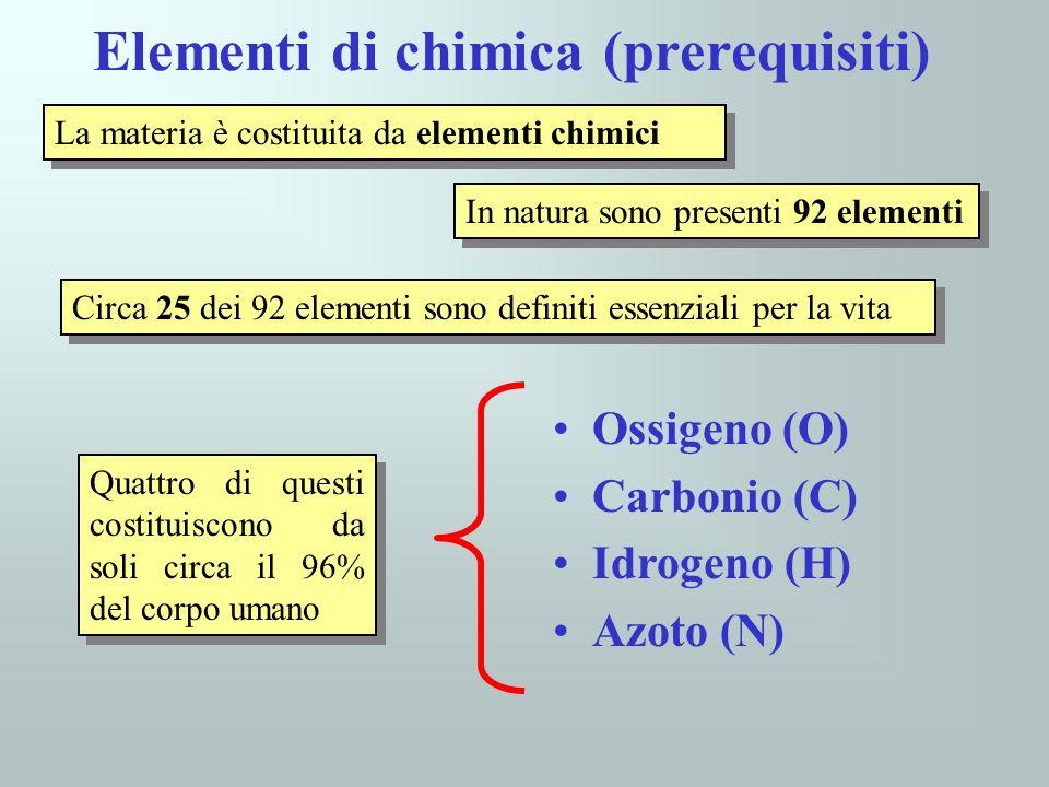 Elementi di chimica (prerequisiti) La materia è costituita da elementi chimici In natura sono presenti 92 elementi Circa 25 dei 92 elementi sono defin