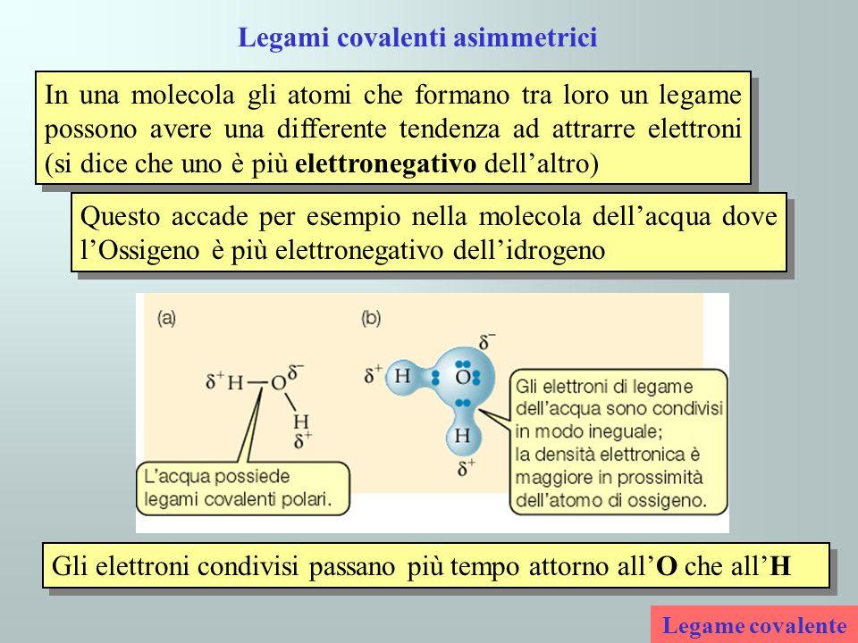 Legami covalenti asimmetrici In una molecola gli atomi che formano tra loro un legame possono avere una differente tendenza ad attrarre elettroni (si