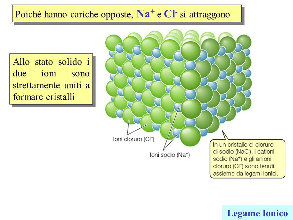 Poiché hanno cariche opposte, Na + e Cl - si attraggono Legame Ionico Allo stato solido i due ioni sono strettamente uniti a formare cristalli
