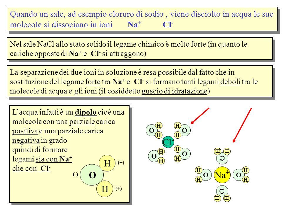 Quando un sale, ad esempio cloruro di sodio, viene disciolto in acqua le sue molecole si dissociano in ioni Na + Cl - Nel sale NaCl allo stato solido
