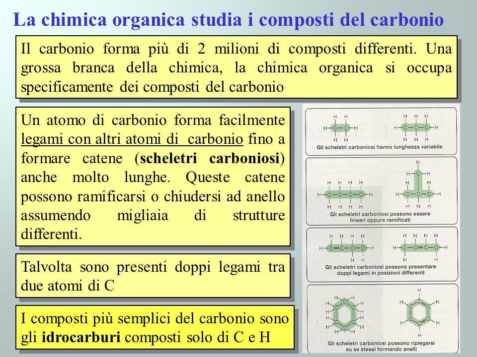 La chimica organica studia i composti del carbonio Il carbonio forma più di 2 milioni di composti differenti. Una grossa branca della chimica, la chim