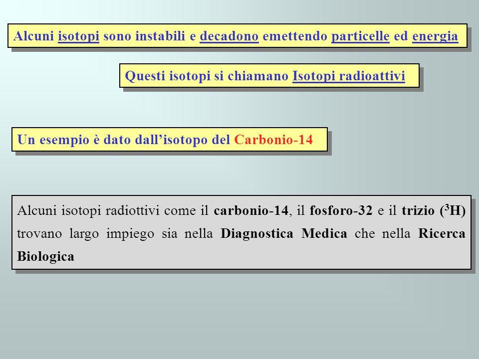 Alcuni isotopi sono instabili e decadono emettendo particelle ed energia Questi isotopi si chiamano Isotopi radioattivi Un esempio è dato dallisotopo