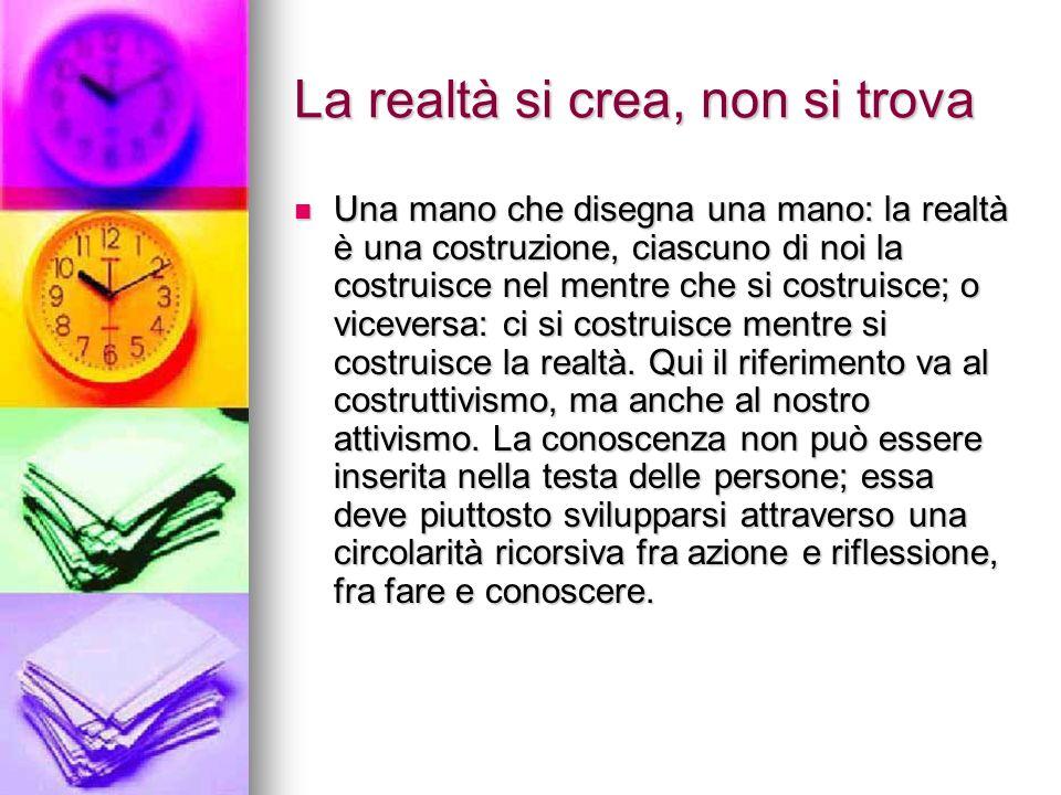 La realtà si crea, non si trova Una mano che disegna una mano: la realtà è una costruzione, ciascuno di noi la costruisce nel mentre che si costruisce; o viceversa: ci si costruisce mentre si costruisce la realtà.