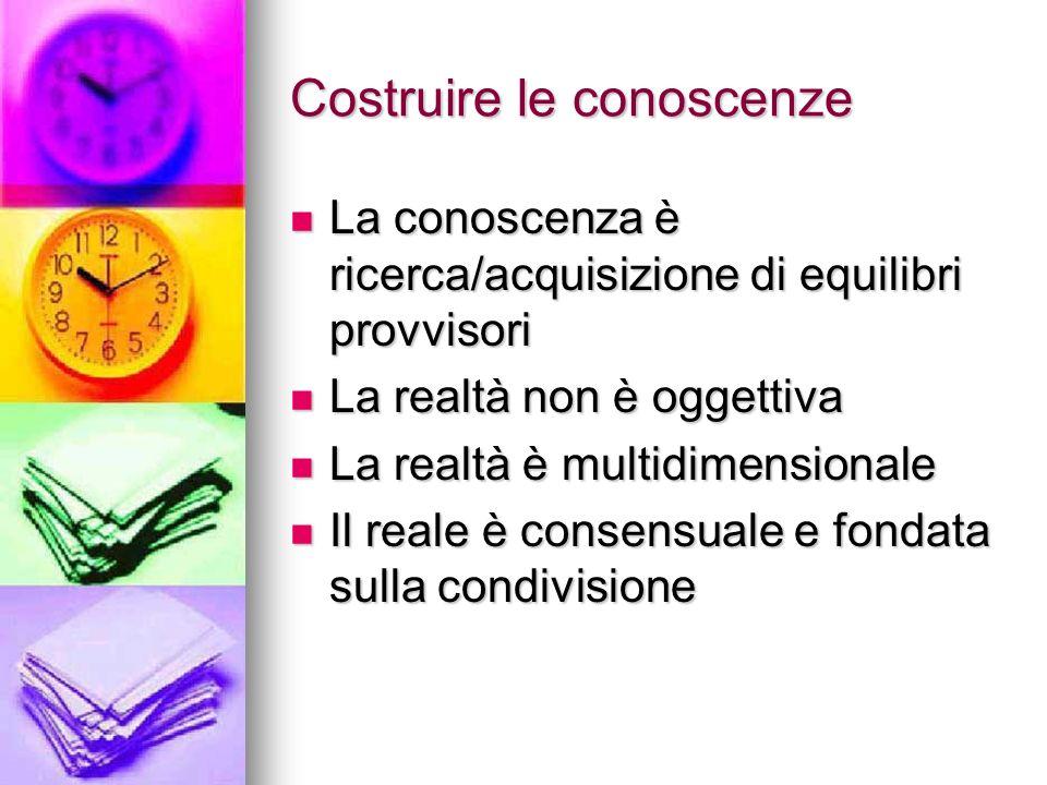 Costruire le conoscenze La conoscenza è ricerca/acquisizione di equilibri provvisori La conoscenza è ricerca/acquisizione di equilibri provvisori La r