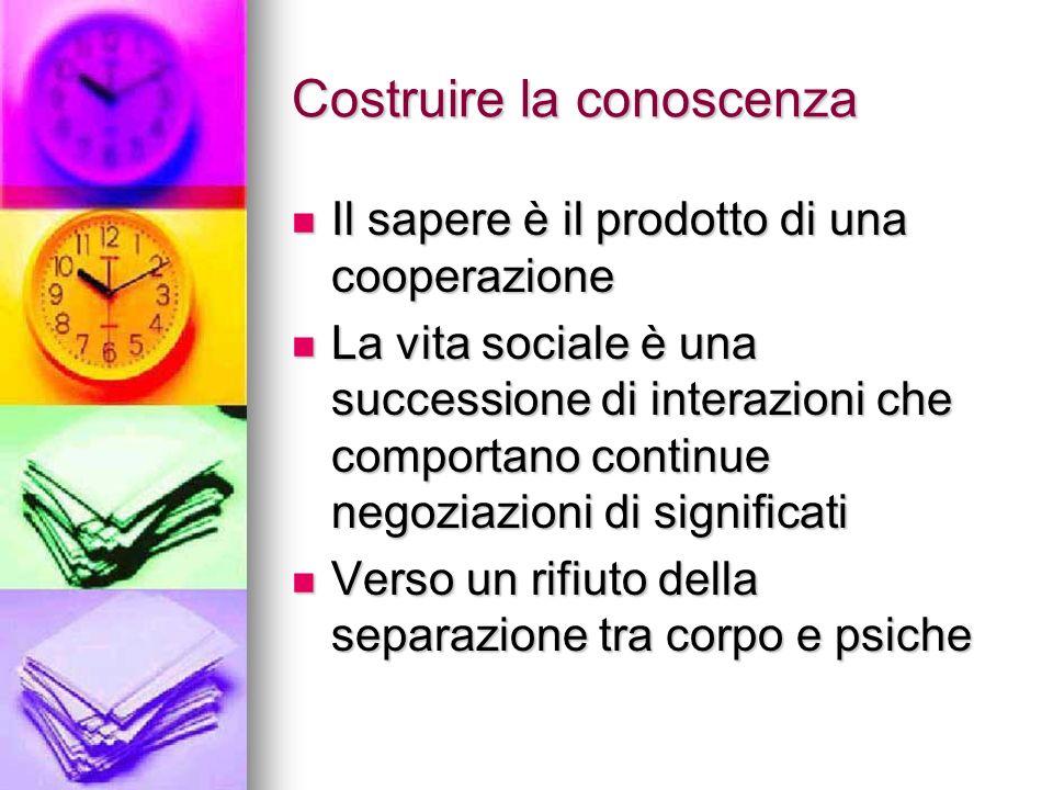 Costruire la conoscenza Il sapere è il prodotto di una cooperazione Il sapere è il prodotto di una cooperazione La vita sociale è una successione di i
