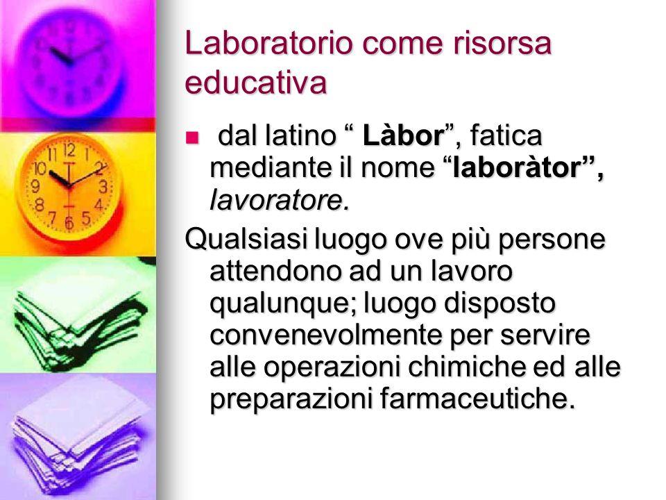 Laboratorio come risorsa educativa dal latino Làbor, fatica mediante il nome laboràtor, lavoratore.