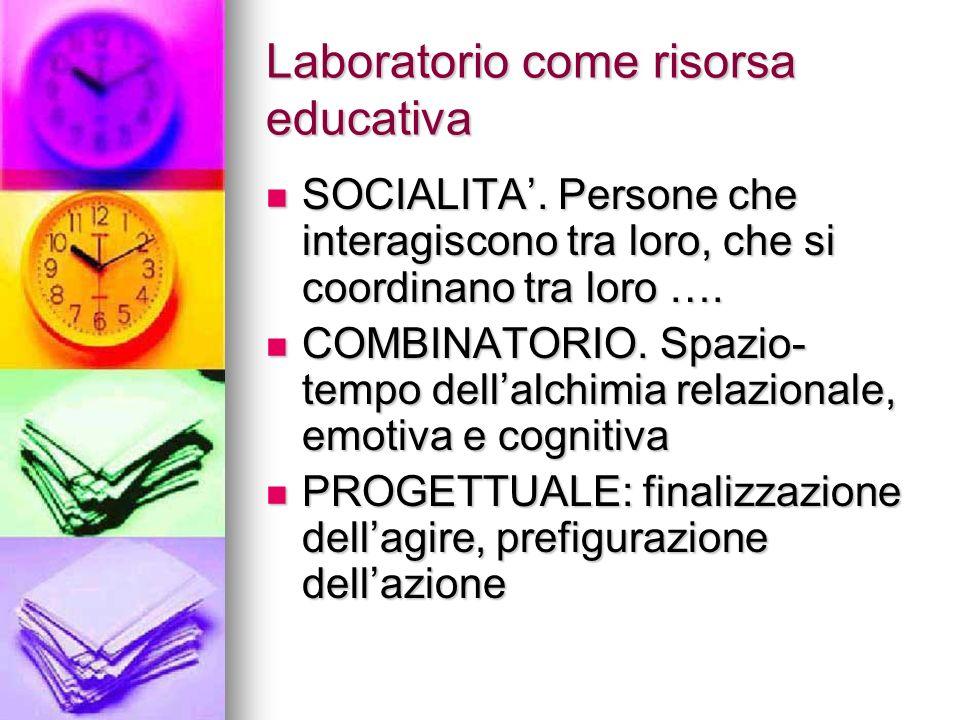 Laboratorio come risorsa educativa SOCIALITA. Persone che interagiscono tra loro, che si coordinano tra loro …. SOCIALITA. Persone che interagiscono t