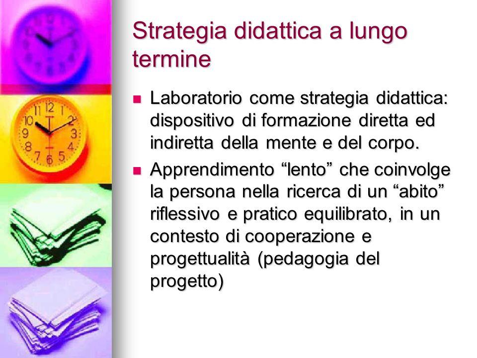 Strategia didattica a lungo termine Laboratorio come strategia didattica: dispositivo di formazione diretta ed indiretta della mente e del corpo. Labo