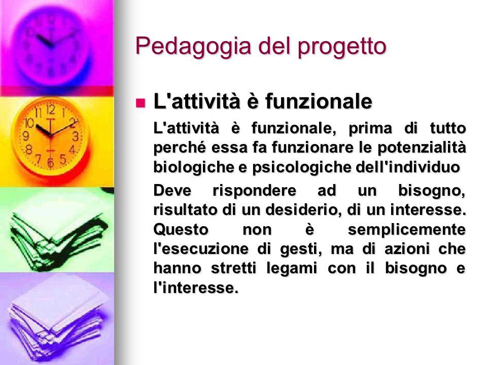 Pedagogia del progetto L'attività è funzionale L'attività è funzionale L'attività è funzionale, prima di tutto perché essa fa funzionare le potenziali