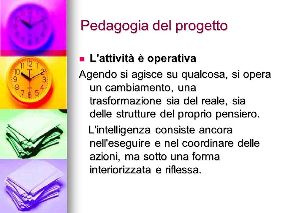 Pedagogia del progetto L attività è operativa L attività è operativa Agendo si agisce su qualcosa, si opera un cambiamento, una trasformazione sia del reale, sia delle strutture del proprio pensiero.