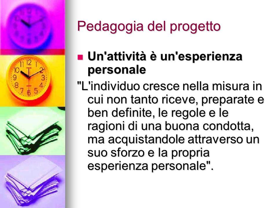 Pedagogia del progetto Un'attività è un'esperienza personale Un'attività è un'esperienza personale