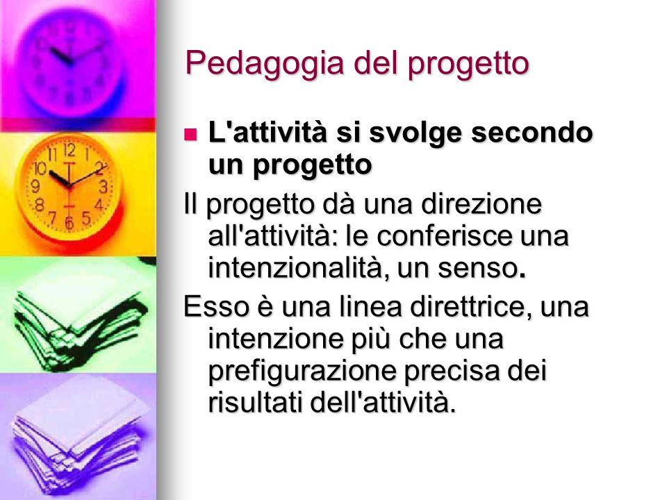 Pedagogia del progetto L attività si svolge secondo un progetto L attività si svolge secondo un progetto Il progetto dà una direzione all attività: le conferisce una intenzionalità, un senso.
