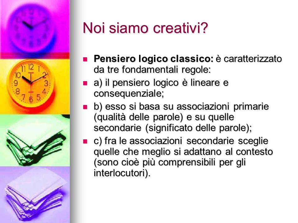 Noi siamo creativi? Pensiero logico classico: è caratterizzato da tre fondamentali regole: Pensiero logico classico: è caratterizzato da tre fondament