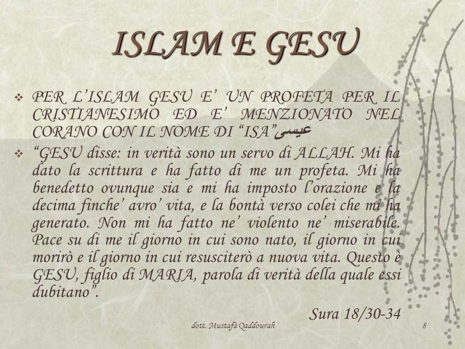 8 ISLAM E GESU PER LISLAM GESU E UN PROFETA PER IL CRISTIANESIMO ED E MENZIONATO NEL CORANO CON IL NOME DI ISA عيسى GESU disse: in verità sono un serv
