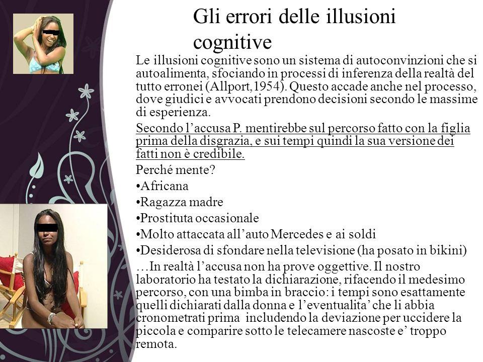 Gli errori delle illusioni cognitive Le illusioni cognitive sono un sistema di autoconvinzioni che si autoalimenta, sfociando in processi di inferenza
