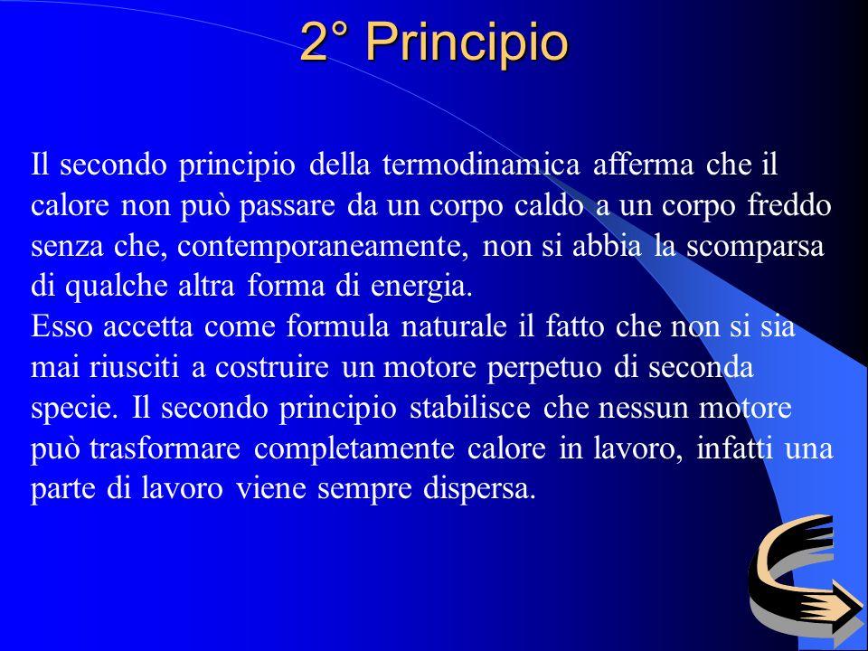 2° Principio Il secondo principio della termodinamica afferma che il calore non può passare da un corpo caldo a un corpo freddo senza che, contemporaneamente, non si abbia la scomparsa di qualche altra forma di energia.