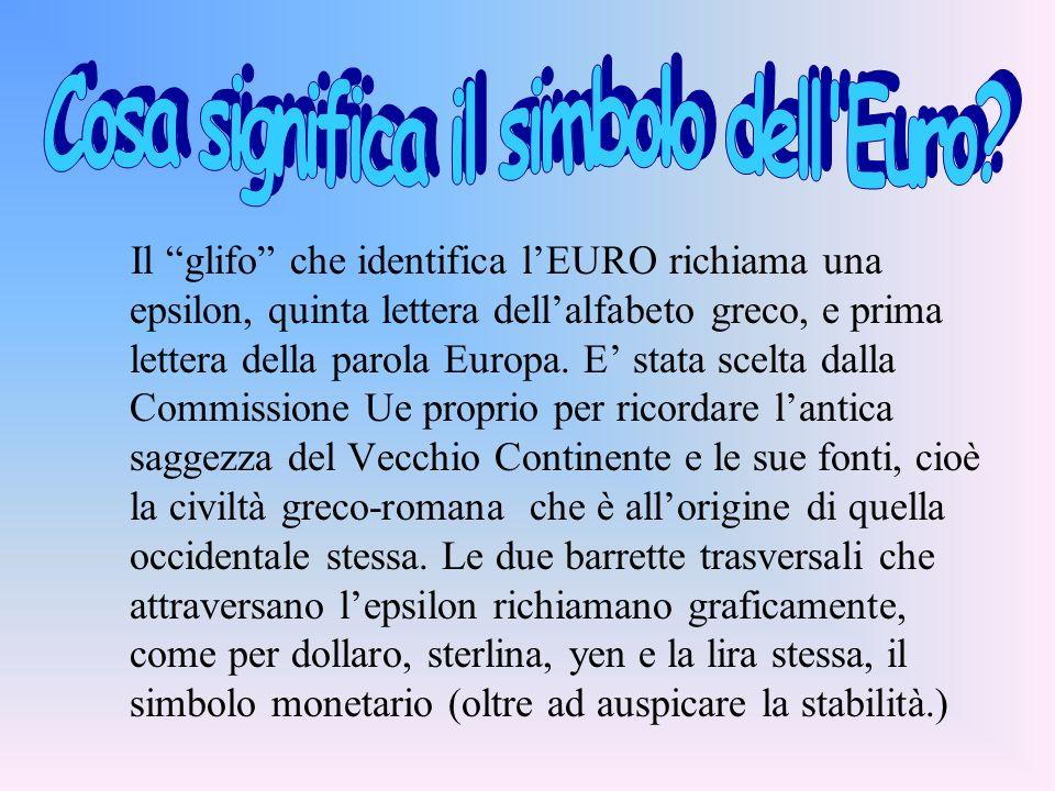 Il glifo che identifica lEURO richiama una epsilon, quinta lettera dellalfabeto greco, e prima lettera della parola Europa. E stata scelta dalla Commi