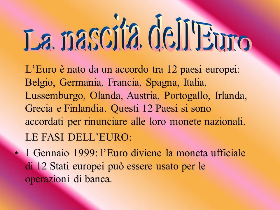 LEuro è nato da un accordo tra 12 paesi europei: Belgio, Germania, Francia, Spagna, Italia, Lussemburgo, Olanda, Austria, Portogallo, Irlanda, Grecia e Finlandia.