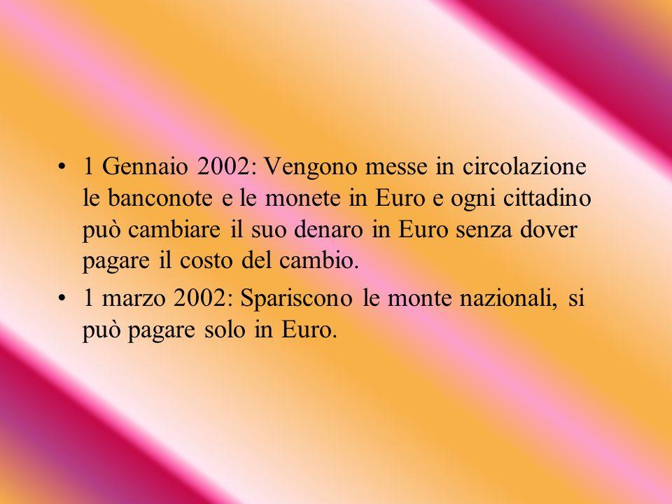 1 Gennaio 2002: Vengono messe in circolazione le banconote e le monete in Euro e ogni cittadino può cambiare il suo denaro in Euro senza dover pagare