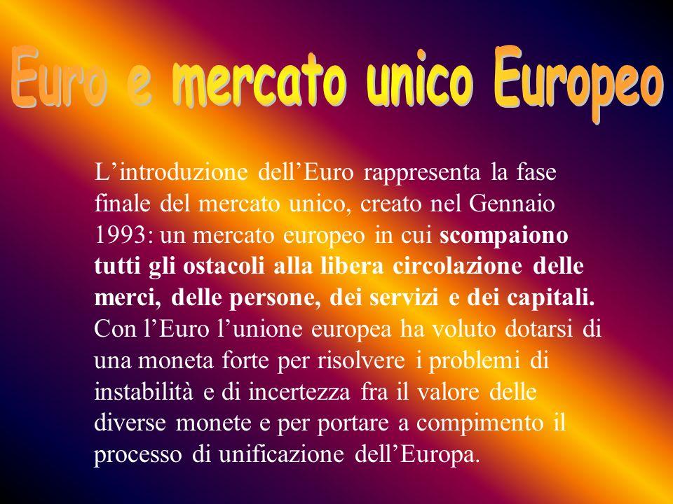 Lintroduzione dellEuro rappresenta la fase finale del mercato unico, creato nel Gennaio 1993: un mercato europeo in cui scompaiono tutti gli ostacoli alla libera circolazione delle merci, delle persone, dei servizi e dei capitali.