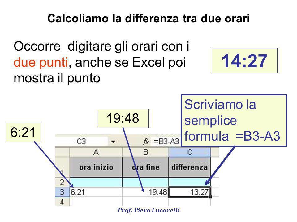 Prof. Piero Lucarelli Occorre digitare gli orari con i due punti, anche se Excel poi mostra il punto 14:27 Calcoliamo la differenza tra due orari 6:21