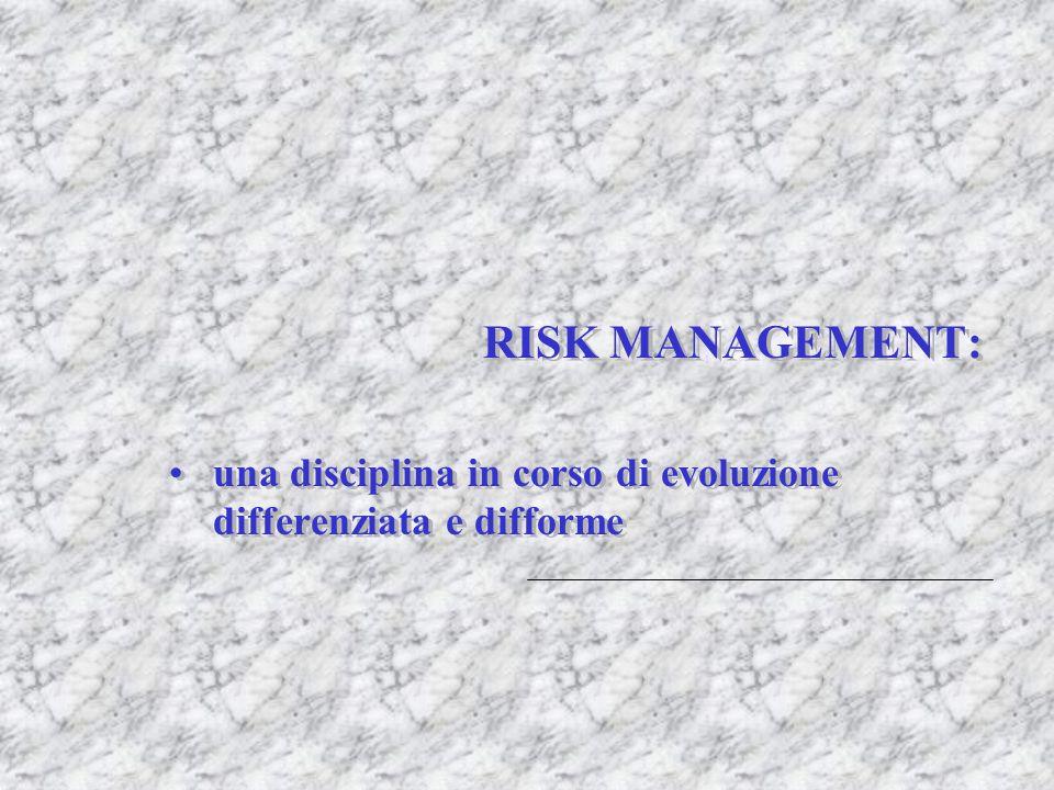 RISK MANAGEMENT: una disciplina in corso di evoluzione differenziata e difforme RISK MANAGEMENT: una disciplina in corso di evoluzione differenziata e
