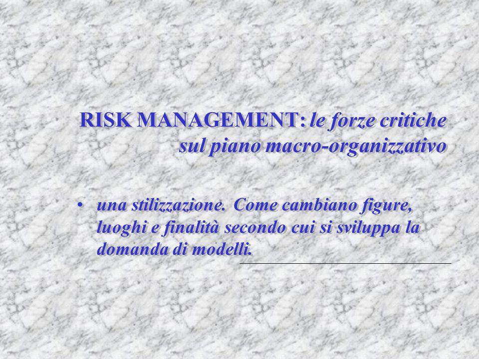 RISK MANAGEMENT: le forze critiche sul piano macro-organizzativo una stilizzazione. Come cambiano figure, luoghi e finalità secondo cui si sviluppa la