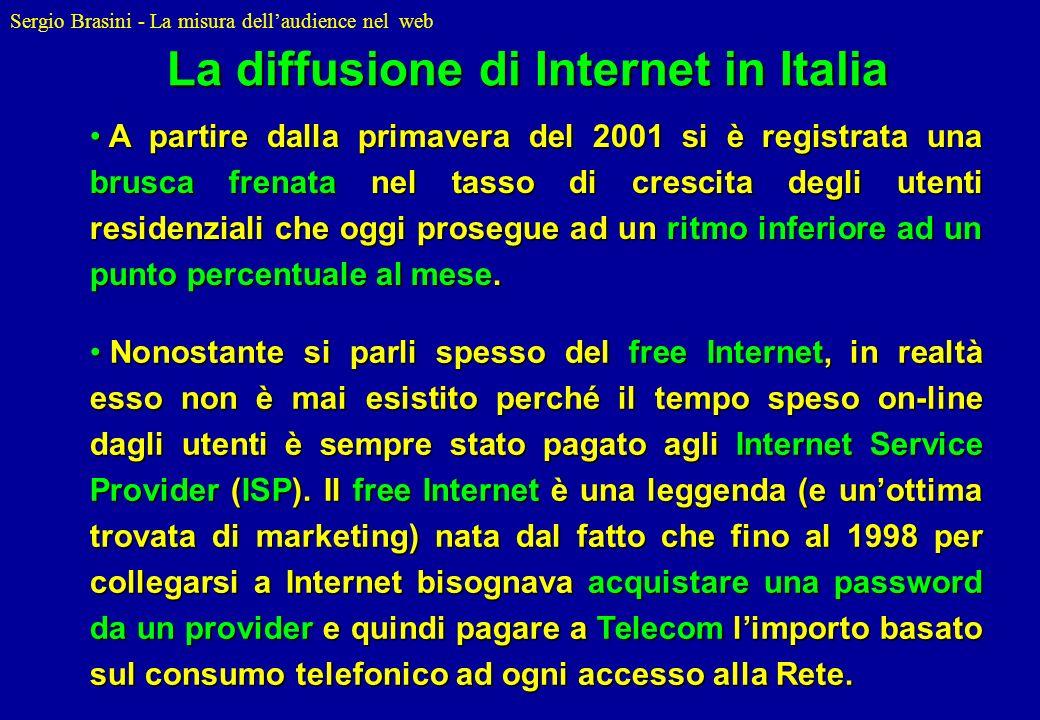 Sergio Brasini - La misura dellaudience nel web A partire dalla primavera del 2001 si è registrata una brusca frenata nel tasso di crescita degli uten