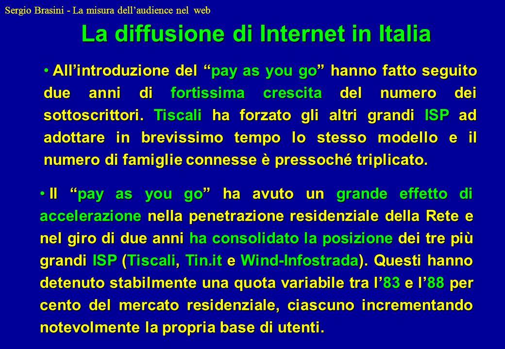 Sergio Brasini - La misura dellaudience nel web Allintroduzione del pay as you go hanno fatto seguito due anni di fortissima crescita del numero dei s