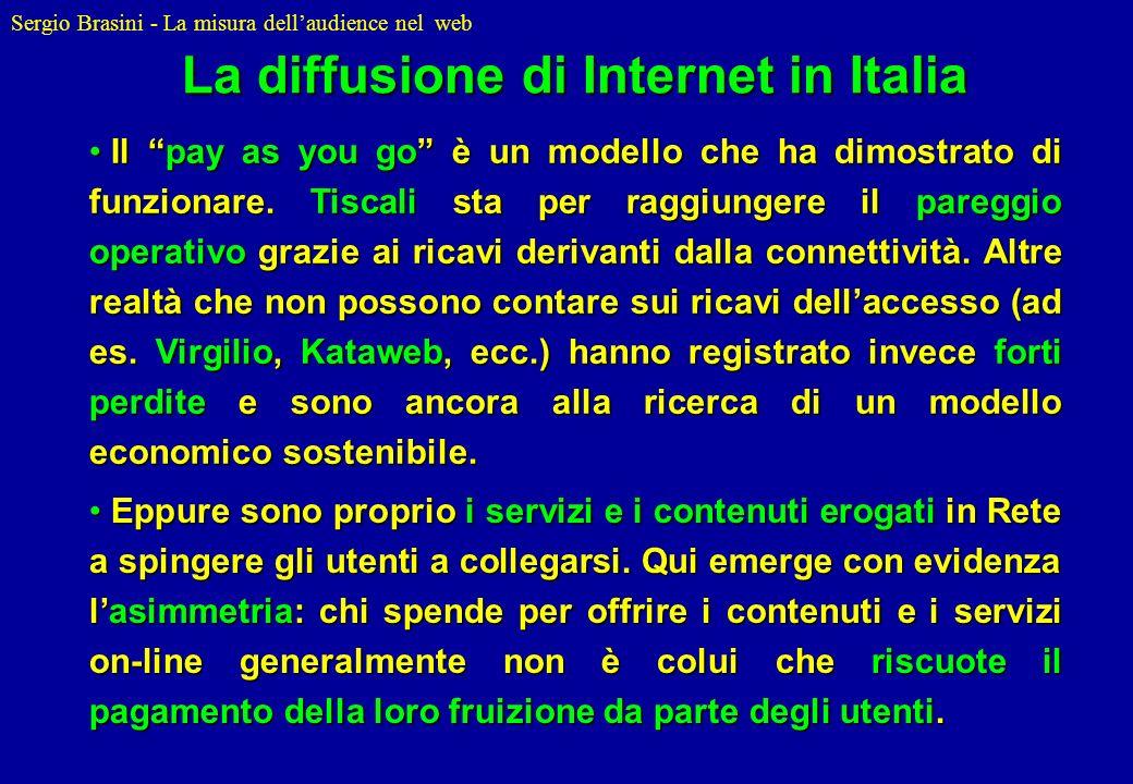 Sergio Brasini - La misura dellaudience nel web Il pay as you go è un modello che ha dimostrato di funzionare. Tiscali sta per raggiungere il pareggio