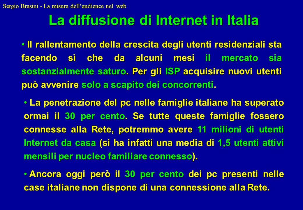 Sergio Brasini - La misura dellaudience nel web Il rallentamento della crescita degli utenti residenziali sta facendo sì che da alcuni mesi il mercato