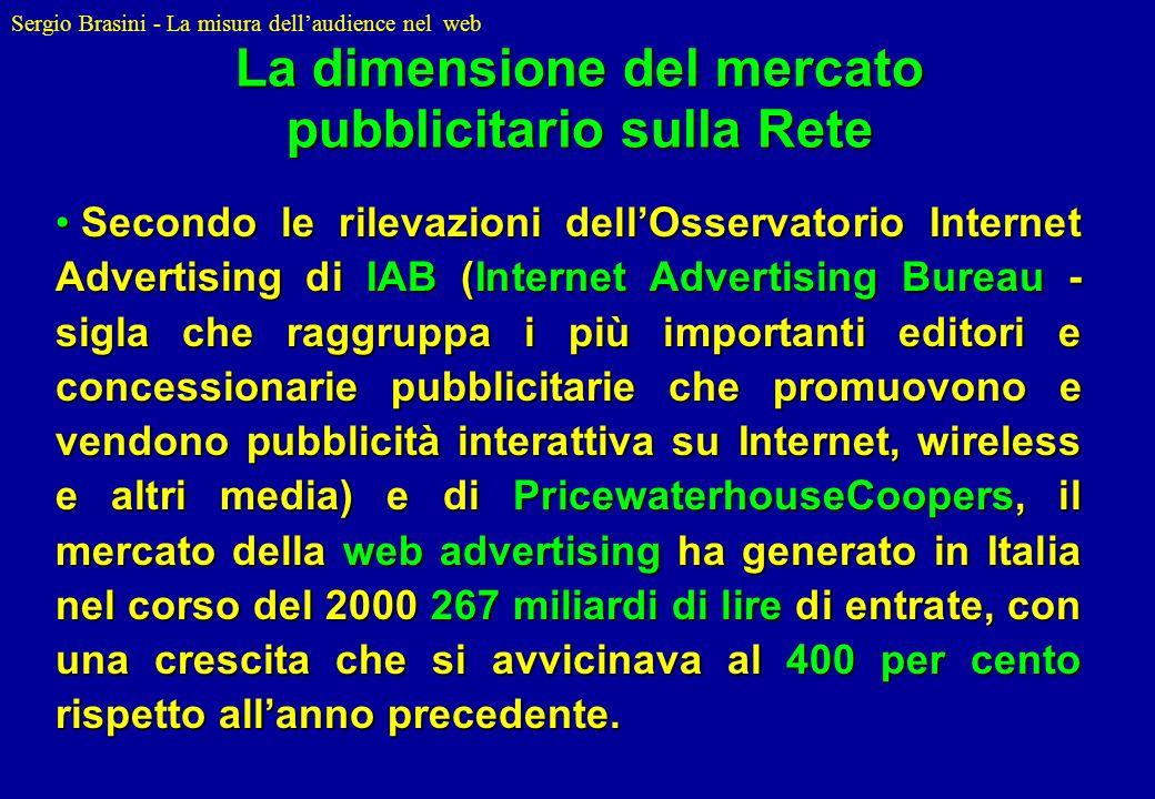 Sergio Brasini - La misura dellaudience nel web Secondo le rilevazioni dellOsservatorio Internet Advertising di IAB (Internet Advertising Bureau - sig