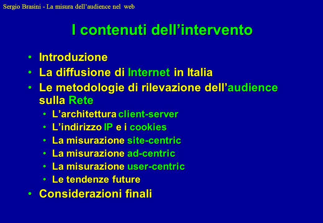 Sergio Brasini - La misura dellaudience nel web I log-file 194.244.79.133 - - [15/Apr/2002:16:28:22 +0100] GET /pic/titolo.gif HTTP/1.0 200 7224 http://www.stat.unibo.it/ Mozilla/4.5 [en] (Win98; I) 194.244.79.133 - - [15/Apr/2002:16:28:22 +0100] GET /pic/news.gif HTTP/1.0 200 3549 http://www.stat.unibo.it/ Mozilla/4.5 [en] (Win98; I) 194.244.79.133 - - [15/Apr/2002:16:28:22 +0100] GET /pic/freccia.gif HTTP/1.0 200 262 http://www.stat.unibo.it/ Mozilla/4.5 [en] (Win98; I) 194.244.79.133 - - [15/Apr/2002:16:28:22 +0100] GET /pic/separatore.gif HTTP/1.0 200 273 http://www.stat.unibo.it/ Mozilla/4.5 [en] (Win98; I) 194.244.79.133 - - [15/Apr/2002:16:28:22 +0100] GET /pic/titolosotto.gif HTTP/1.0 200 1373 http://www.stat.unibo.it/ Mozilla/4.5 [en] (Win98; I) 194.244.79.133 - - [15/Apr/2002:16:28:30 +0100] GET /download/pic/download.gif HTTP/1.0 200 6820 http://www.stat.unibo.it/download/index.html Mozilla/4.5 [en] (Win98; I)