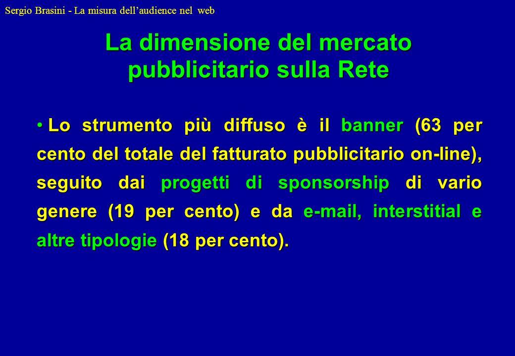 Sergio Brasini - La misura dellaudience nel web Lo strumento più diffuso è il banner (63 per cento del totale del fatturato pubblicitario on-line), se