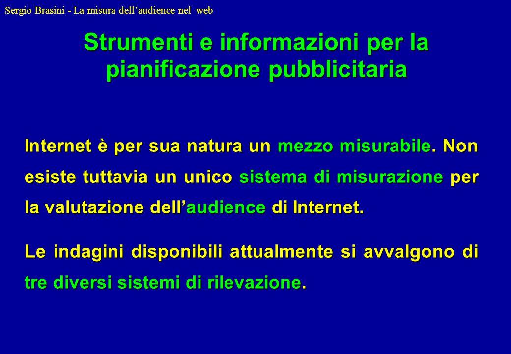 Sergio Brasini - La misura dellaudience nel web Internet è per sua natura un mezzo misurabile. Non esiste tuttavia un unico sistema di misurazione per
