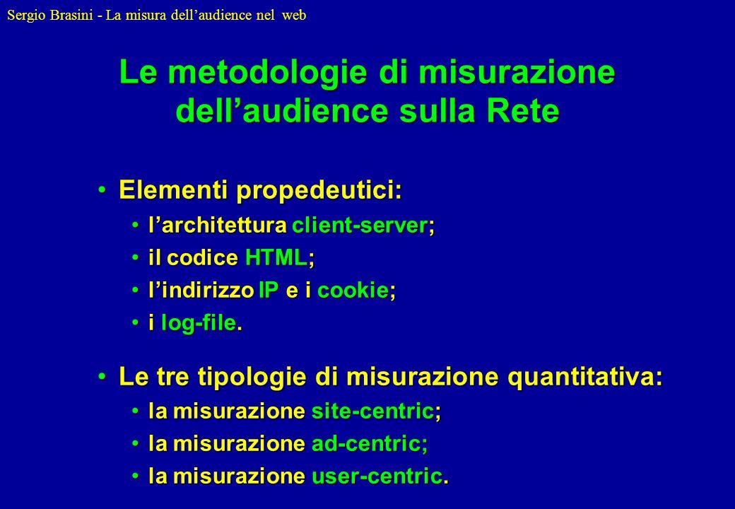 Sergio Brasini - La misura dellaudience nel web Le metodologie di misurazione dellaudience sulla Rete Elementi propedeutici:Elementi propedeutici: lar