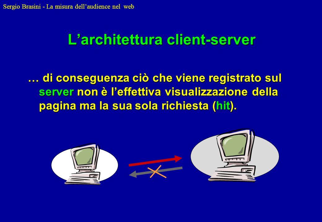 Sergio Brasini - La misura dellaudience nel web Larchitettura client-server … di conseguenza ciò che viene registrato sul server non è leffettiva visu