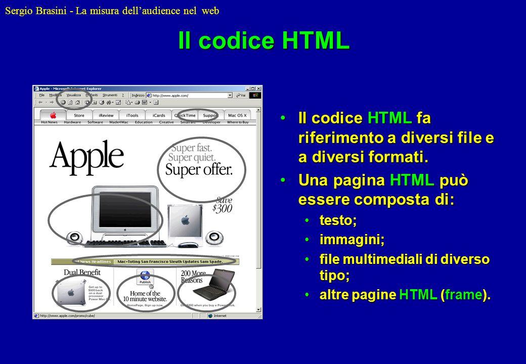 Sergio Brasini - La misura dellaudience nel web Il codice HTML Il codice HTML fa riferimento a diversi file e a diversi formati.Il codice HTML fa rife