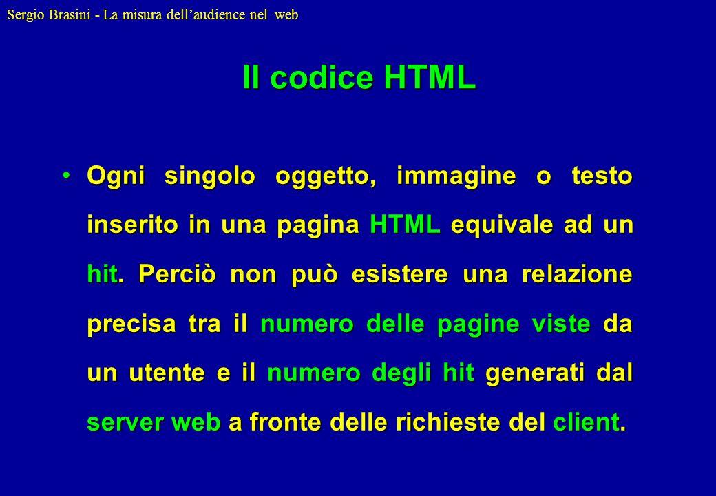 Sergio Brasini - La misura dellaudience nel web Il codice HTML Ogni singolo oggetto, immagine o testo inserito in una pagina HTML equivale ad un hit.