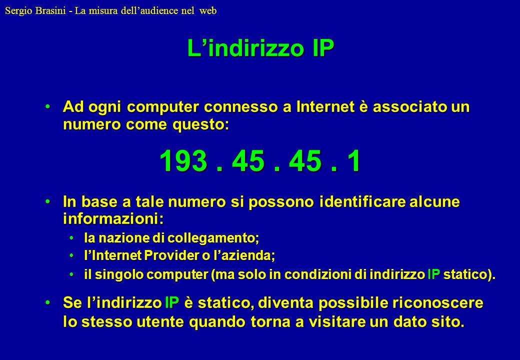 Sergio Brasini - La misura dellaudience nel web Lindirizzo IP Ad ogni computer connesso a Internet è associato un numero come questo:Ad ogni computer