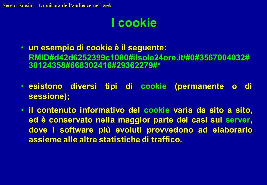Sergio Brasini - La misura dellaudience nel web I cookie un esempio di cookie è il seguente:un esempio di cookie è il seguente: RMID#d42d6252399c1080#