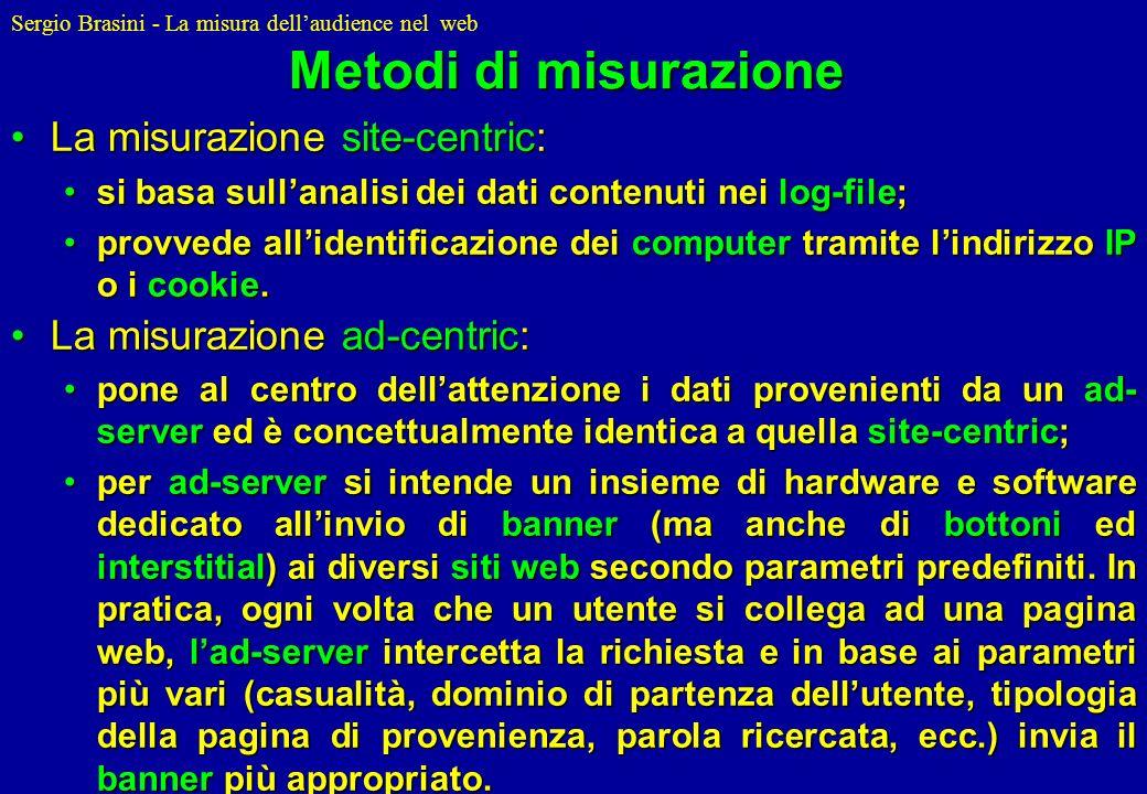 Sergio Brasini - La misura dellaudience nel web Metodi di misurazione La misurazione site-centric:La misurazione site-centric: si basa sullanalisi dei