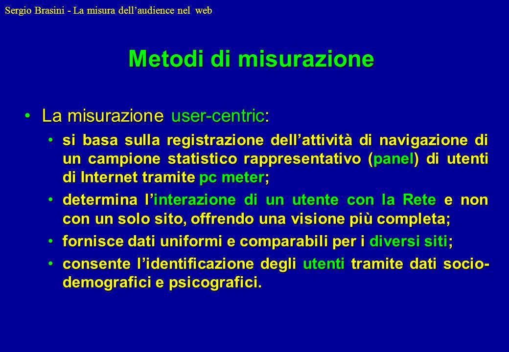 Sergio Brasini - La misura dellaudience nel web Metodi di misurazione La misurazione user-centric:La misurazione user-centric: si basa sulla registraz