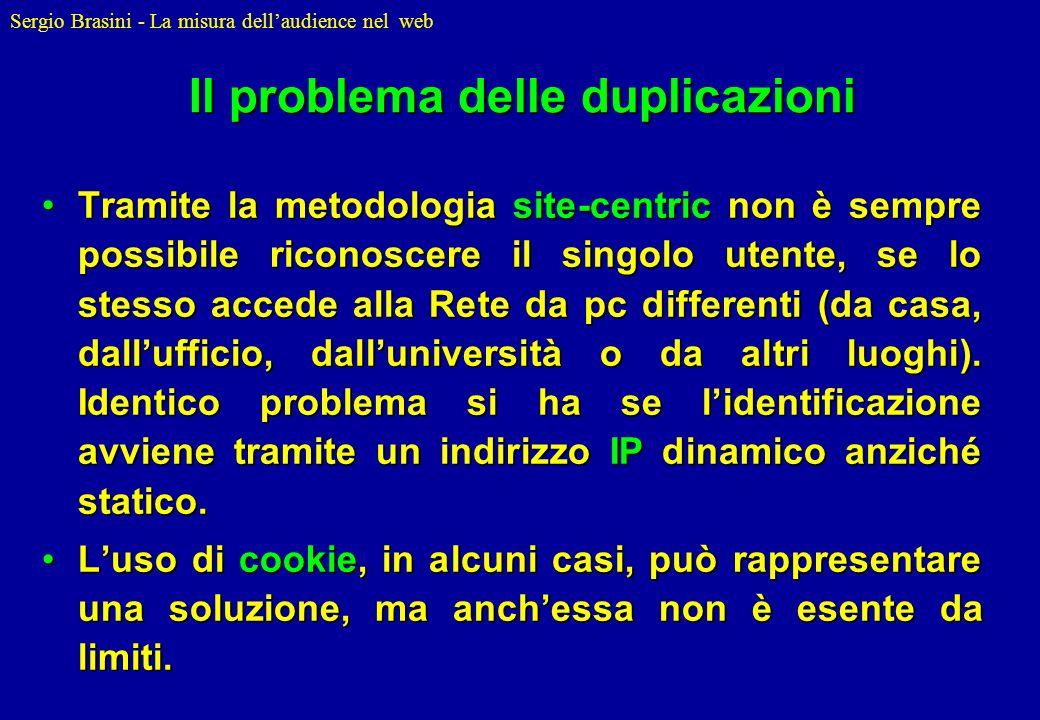 Sergio Brasini - La misura dellaudience nel web Il problema delle duplicazioni Tramite la metodologia site-centric non è sempre possibile riconoscere