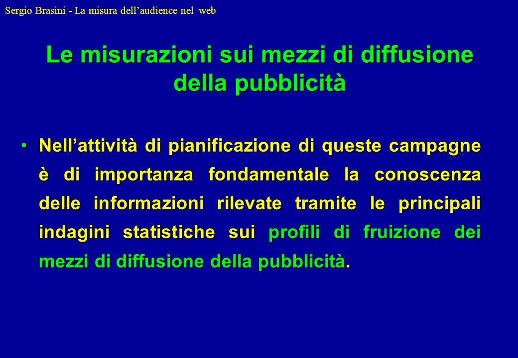 Sergio Brasini - La misura dellaudience nel web Le misurazioni sui mezzi di diffusione della pubblicità Nellattività di pianificazione di queste campa