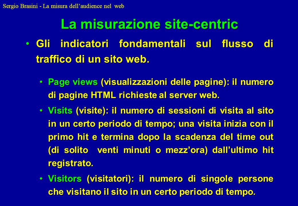 Sergio Brasini - La misura dellaudience nel web La misurazione site-centric Gli indicatori fondamentali sul flusso di traffico di un sito web.Gli indi