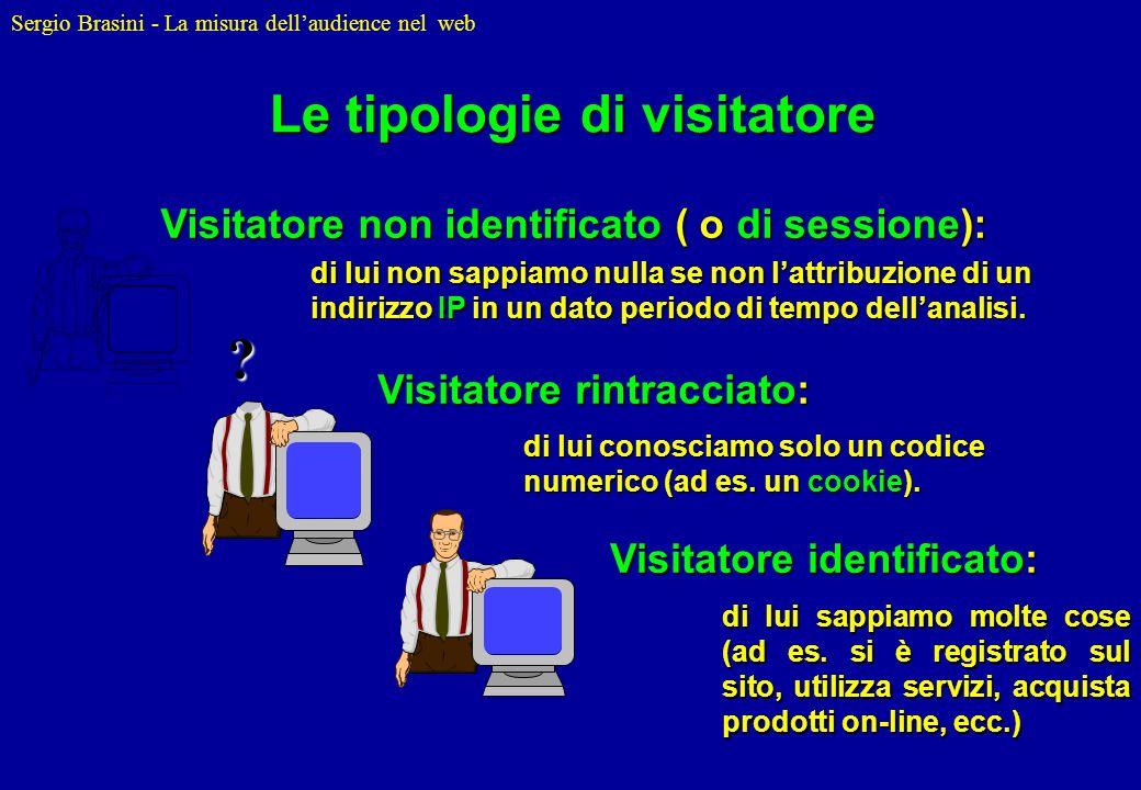 Sergio Brasini - La misura dellaudience nel web Le tipologie di visitatore ? Visitatore rintracciato: di lui conosciamo solo un codice numerico (ad es