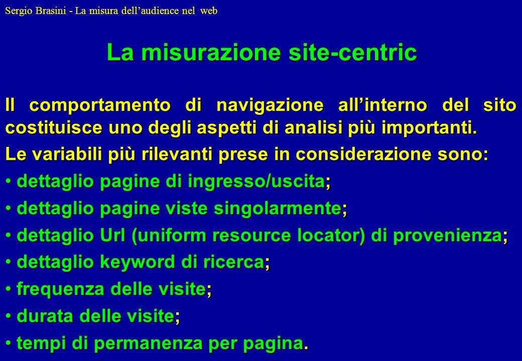 Sergio Brasini - La misura dellaudience nel web Il comportamento di navigazione allinterno del sito costituisce uno degli aspetti di analisi più impor